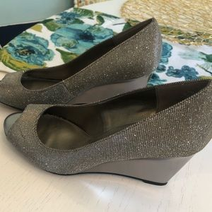 Silver sparkly wedges
